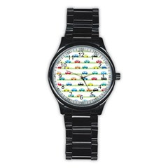 Small Car Red Yellow Blue Orange Black Kids Stainless Steel Round Watch