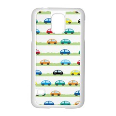 Small Car Red Yellow Blue Orange Black Kids Samsung Galaxy S5 Case (White)