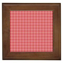 Plaid Red White Line Framed Tiles