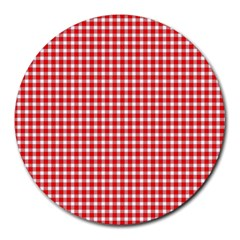 Plaid Red White Line Round Mousepads