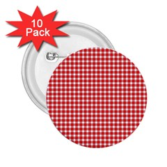 Plaid Red White Line 2.25  Buttons (10 pack)