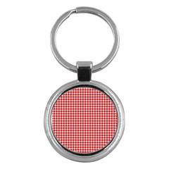 Plaid Red White Line Key Chains (Round)