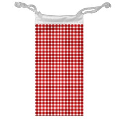 Plaid Red White Line Jewelry Bag