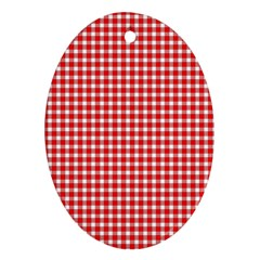 Plaid Red White Line Oval Ornament (Two Sides)