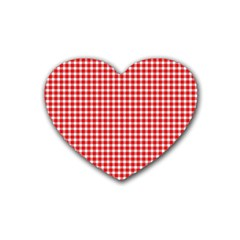 Plaid Red White Line Rubber Coaster (Heart)