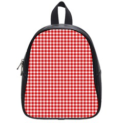 Plaid Red White Line School Bags (Small)