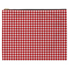 Plaid Red White Line Cosmetic Bag (XXXL)
