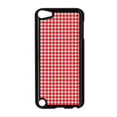 Plaid Red White Line Apple Ipod Touch 5 Case (black)