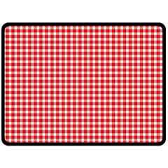 Plaid Red White Line Double Sided Fleece Blanket (Large)