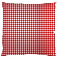 Plaid Red White Line Large Flano Cushion Case (One Side)