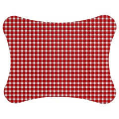 Plaid Red White Line Jigsaw Puzzle Photo Stand (Bow)