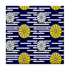 Sunflower Line Blue Yellpw Tile Coasters