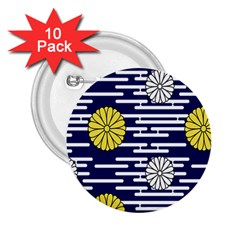 Sunflower Line Blue Yellpw 2.25  Buttons (10 pack)