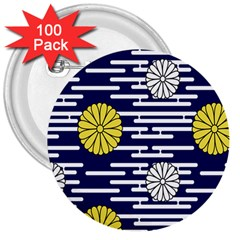 Sunflower Line Blue Yellpw 3  Buttons (100 pack)