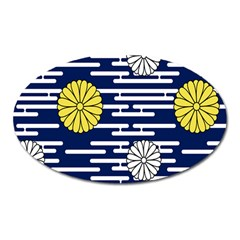 Sunflower Line Blue Yellpw Oval Magnet