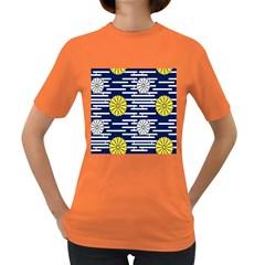 Sunflower Line Blue Yellpw Women s Dark T-Shirt