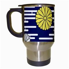 Sunflower Line Blue Yellpw Travel Mugs (White)