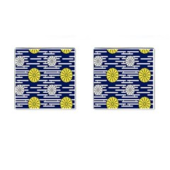 Sunflower Line Blue Yellpw Cufflinks (Square)