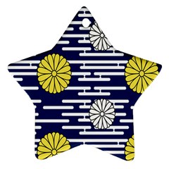 Sunflower Line Blue Yellpw Star Ornament (Two Sides)