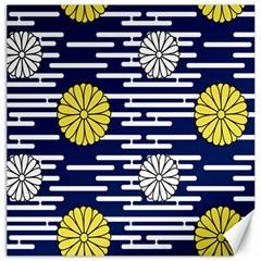 Sunflower Line Blue Yellpw Canvas 12  X 12