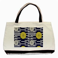 Sunflower Line Blue Yellpw Basic Tote Bag (Two Sides)