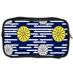 Sunflower Line Blue Yellpw Toiletries Bags 2-Side