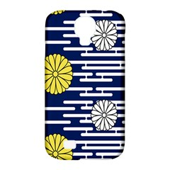 Sunflower Line Blue Yellpw Samsung Galaxy S4 Classic Hardshell Case (pc+silicone)