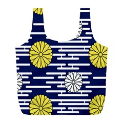 Sunflower Line Blue Yellpw Full Print Recycle Bags (L)