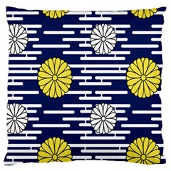 Sunflower Line Blue Yellpw Large Flano Cushion Case (Two Sides)