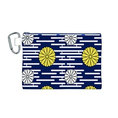 Sunflower Line Blue Yellpw Canvas Cosmetic Bag (M)