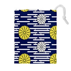 Sunflower Line Blue Yellpw Drawstring Pouches (Extra Large)