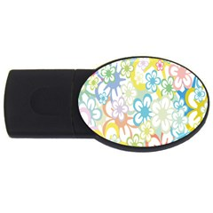 Star Flower Rainbow Sunflower Sakura USB Flash Drive Oval (4 GB)