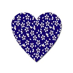 Star Flower Blue White Heart Magnet