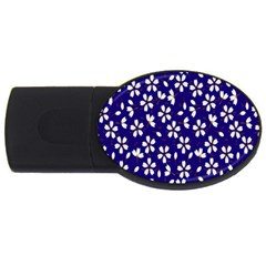Star Flower Blue White USB Flash Drive Oval (2 GB)