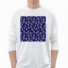 Star Flower Blue White White Long Sleeve T-Shirts