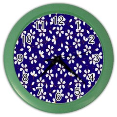 Star Flower Blue White Color Wall Clocks