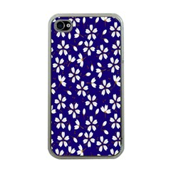 Star Flower Blue White Apple iPhone 4 Case (Clear)