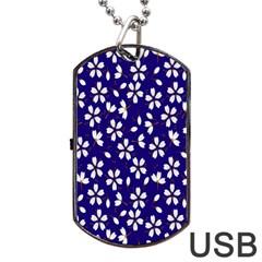 Star Flower Blue White Dog Tag USB Flash (One Side)