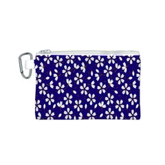 Star Flower Blue White Canvas Cosmetic Bag (S)