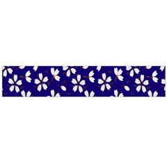 Star Flower Blue White Flano Scarf (Large)