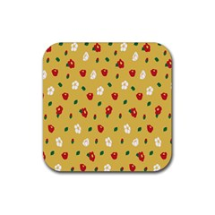 Tulip Sunflower Sakura Flower Floral Red White Leaf Green Rubber Square Coaster (4 pack)