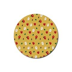 Tulip Sunflower Sakura Flower Floral Red White Leaf Green Rubber Round Coaster (4 pack)