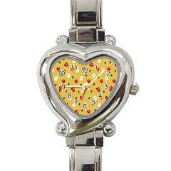 Tulip Sunflower Sakura Flower Floral Red White Leaf Green Heart Italian Charm Watch