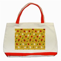 Tulip Sunflower Sakura Flower Floral Red White Leaf Green Classic Tote Bag (Red)