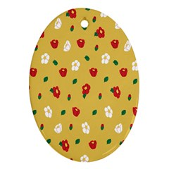 Tulip Sunflower Sakura Flower Floral Red White Leaf Green Oval Ornament (Two Sides)