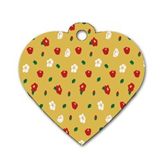Tulip Sunflower Sakura Flower Floral Red White Leaf Green Dog Tag Heart (Two Sides)