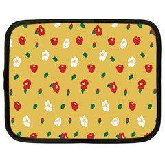 Tulip Sunflower Sakura Flower Floral Red White Leaf Green Netbook Case (Large)