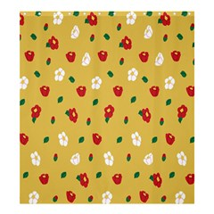 Tulip Sunflower Sakura Flower Floral Red White Leaf Green Shower Curtain 66  x 72  (Large)