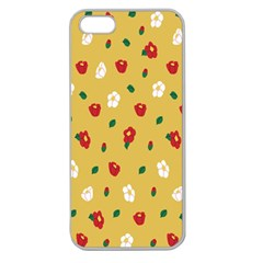 Tulip Sunflower Sakura Flower Floral Red White Leaf Green Apple Seamless iPhone 5 Case (Clear)