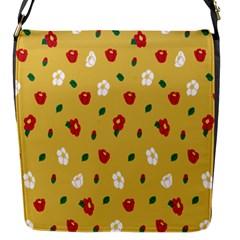 Tulip Sunflower Sakura Flower Floral Red White Leaf Green Flap Messenger Bag (S)